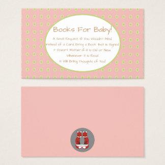 Insertion rose de demande de livre de baby shower cartes de visite
