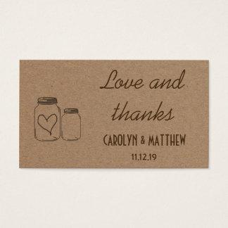 Insertion rustique d'amour et de mercis de mariage cartes de visite