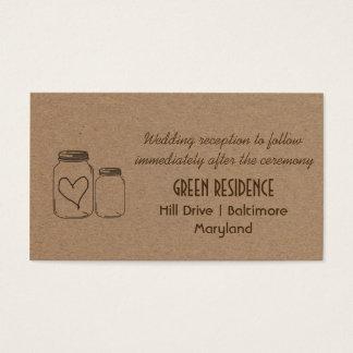 Insertion rustique de mariage de coeur de pot de cartes de visite