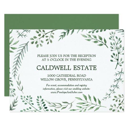 Insertion rustique verte de réception de mariage carton d'invitation 8,89 cm x 12,70 cm