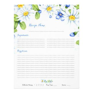 Insertions florales bleues de recette de classeur prospectus 21,6 cm x 24,94 cm