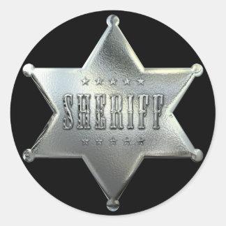 Insigne argenté de shérif d'étoile adhésif rond