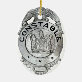 Insigne d'agent de police ornement ovale en céramique
