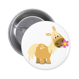 Insigne de bouton de poney et de fleur de bande de badge