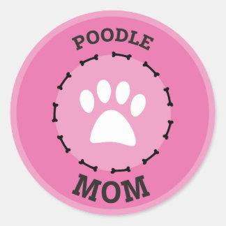 Insigne de maman de caniche de cercle sticker rond