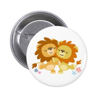 Insigne mignon de bouton de tango de deux lions de pin's avec agrafe