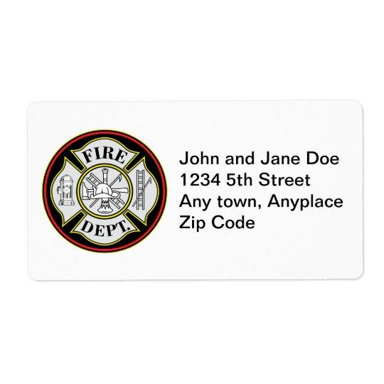 Insigne rond de corps de sapeurs-pompiers étiquette d'expédition