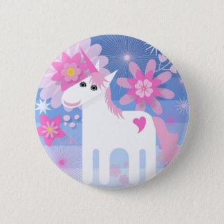 Insigne rond de licorne assez rose badge