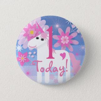 Insigne rond de licorne de nombre assez rose badge