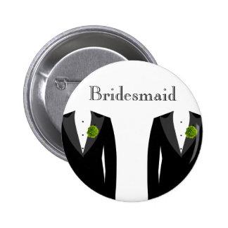 Insigne vert de demoiselle d'honneur d'oeillet badges