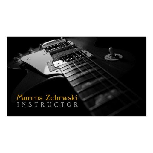 Instructeur de guitare, musique, instruments modèle de carte de visite