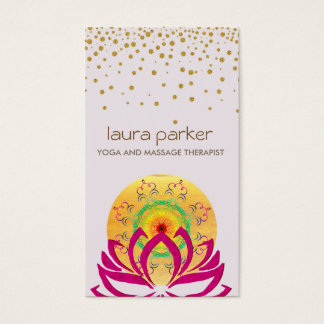 Instructeur de yoga de fleur de Lotus d'aquarelle Cartes De Visite