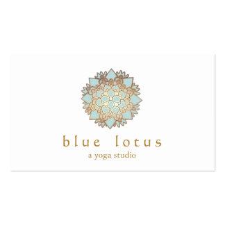 Instructeur de yoga de logo de Lotus bleu Carte De Visite Standard