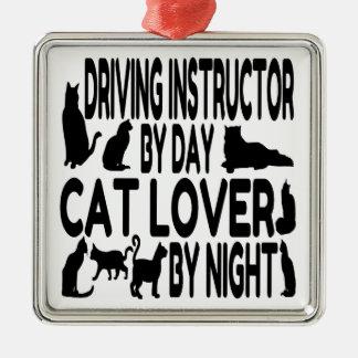 Instructeur d'entraînement d'amoureux des chats ornement carré argenté