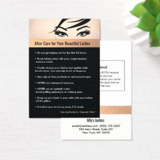 Instructions et référence de soins ultérieurs de cartes de visite