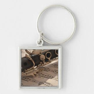Instrument de musique de clarinette avec la porte-clé carré argenté