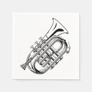 Instrument de musique noir et blanc de croquis de serviette en papier