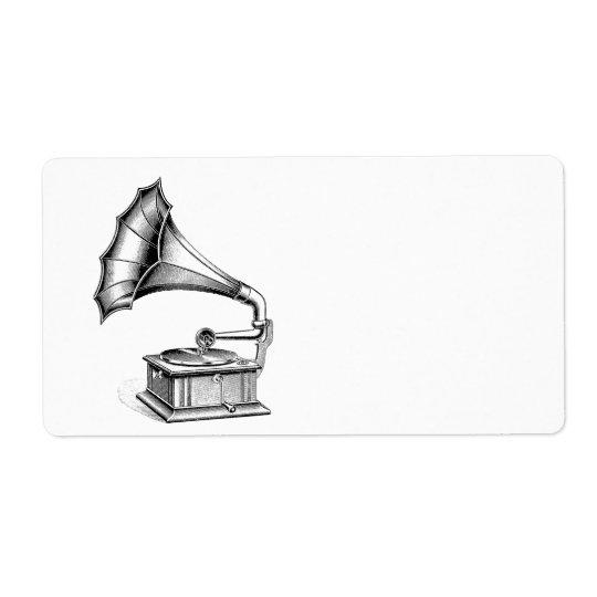 Instrument de musique vintage de tourne-disque de étiquette d'expédition
