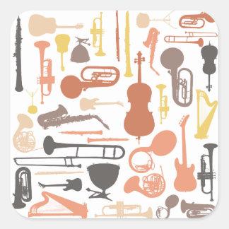 Instruments de musique sticker carré