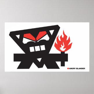 Insulaire fâché - noir sur la lumière affiche