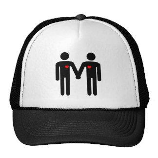 intérêt gai de 2 homosexuels des sentiments coudés casquette de camionneur
