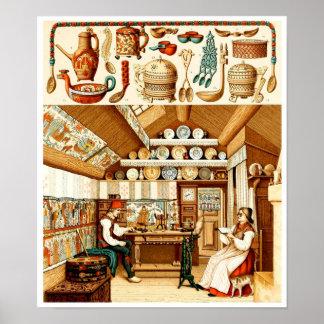 Intérieur de Chambre suédoise (meubles et batterie Poster