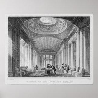Intérieur de la bibliothèque de l'avocat, Edimbour Poster