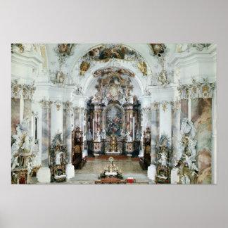 Intérieur de l'église bénédictine d'abbaye posters