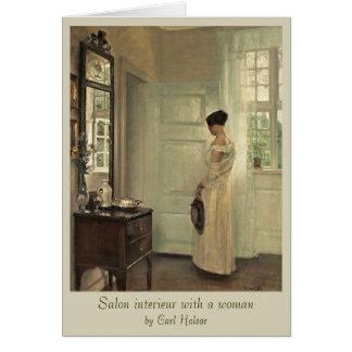Interieur de salon de Karl Holsøe avec la femme Carte De Vœux