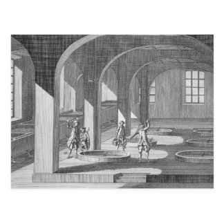 Intérieur d'une savonnerie, illustration pour une carte postale