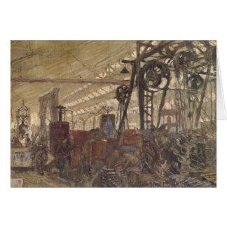 Intérieur d'une usine de munitions, 1916-17 carte de vœux