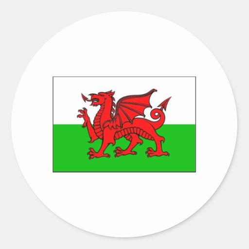 International de DRAPEAU du Pays de Galles Adhésif Rond