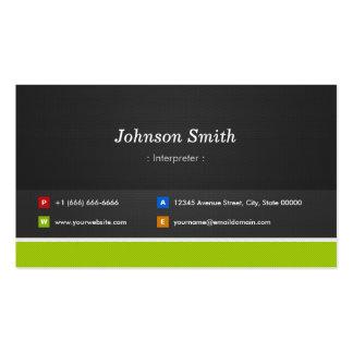 Interprète - professionnel et prime carte de visite standard