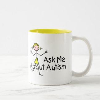 Interrogez-moi au sujet de l'autisme (fille 2) mug bicolore