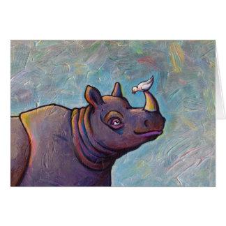 Intitulé :  Bavardage - art d'oiseau de rhinocéros Carte De Vœux