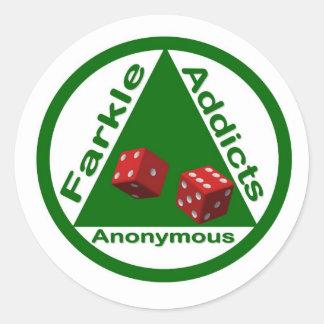 Intoxiqués de Farkle anonymes Sticker Rond
