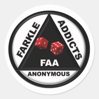 Intoxiqués de Farkle anonymes (version 2010) Sticker Rond