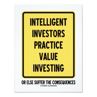 Investissement intelligent de valeur de pratique carton d'invitation 10,79 cm x 13,97 cm