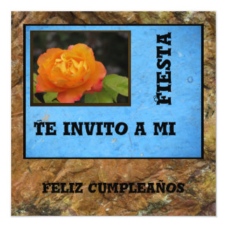 Invitación - Feliz Cumpleaños - orange se sont Carton D'invitation 13,33 Cm