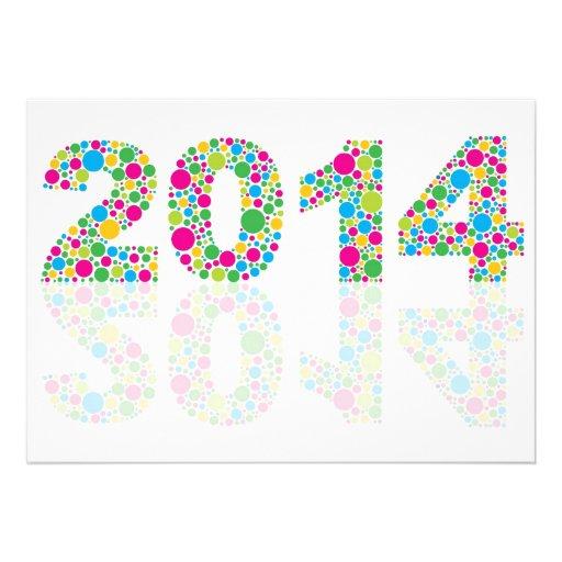 Invitation 2014 colorée de nouvelle année de pois