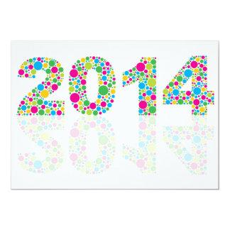 Invitation 2014 colorée de nouvelle année de pois carton d'invitation  12,7 cm x 17,78 cm