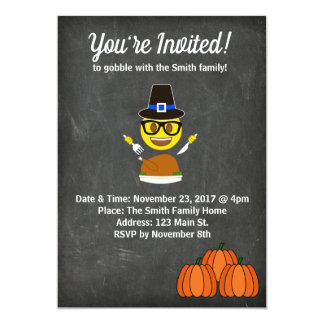 Invitation 2017 de dîner de thanksgiving d'Emoji