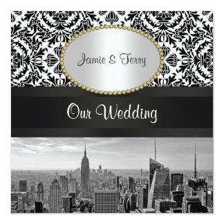 Invitation 2 de BW 431 mariage damassé d'horizon