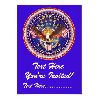 """Invitation 4,5"""" x 6,25"""" l'Amérique non oubliée…. Carton D'invitation 11,43 Cm X 15,87 Cm"""