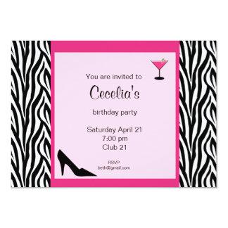Invitation adulte d'anniversaire de zèbre (# INV
