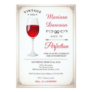 Invitation adulte d'anniversaire/invitation de vin