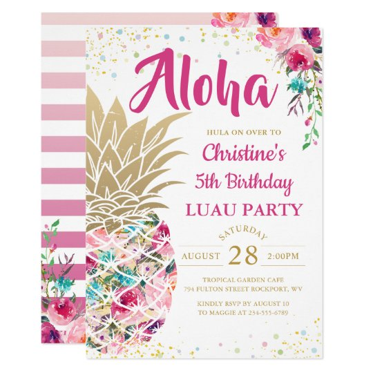 Invitation Anniversaire Floral De Luau D Ananas Rose Tropical
