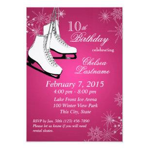 Invitation Anniversaire rose de patins et de flocons de neige