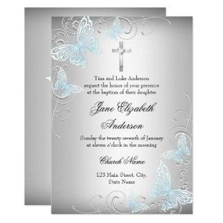 Invitation argenté bleu de papillon de remous et