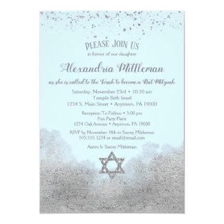 Invitation argentée bleue de bat mitzvah